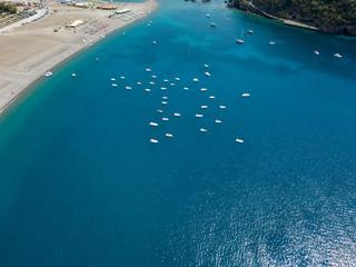 Vista aerea della spiaggia e dell'isola di Dino. Praia a Mare, Provincia di Cosenza, Calabria, Italia. 26/06/2017. Vista aerea dell'isola, vacanze e mare
