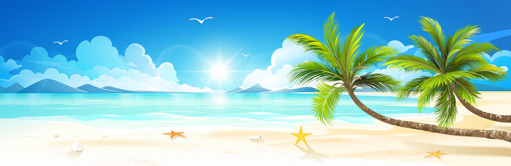 Summer holidays on tropical beach. Vector