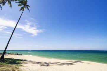 tropical sandy beach at sunny day.blue sky and torquise sea water. ideal for travel and vacation background