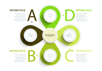 Green Four Section Leaf-like Infographic Layout