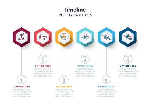 Colorful Six Section Hexagon Infographic Layout