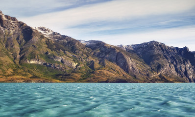 Cruising in Glacier Alley. Patagonia, Argentina, South America. Landscape of beautiful mountains and blue water. Fjords