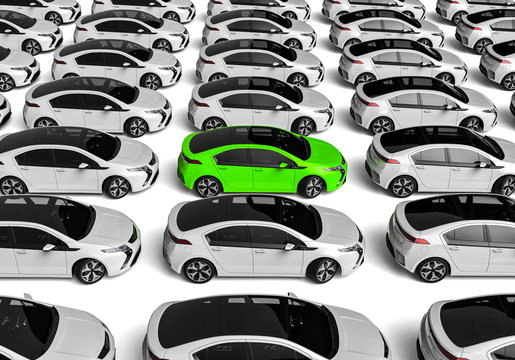 Unique car  / 3D render image representing a fleet of cars with a gree one in the middle