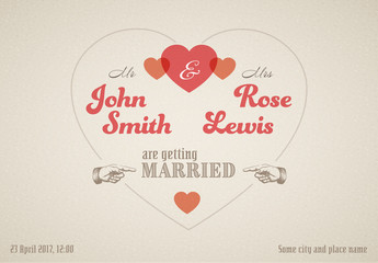 Retro Style Wedding Invitation Graphic 1