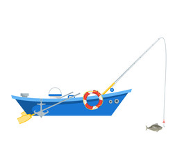 Cartoon Fishing Boat Isolated on White Background. Vector