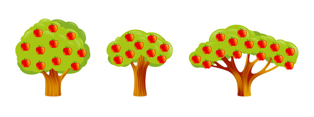 Apple Trees Set of different shapes and sizes. Red Fruits on a bright green branches, leaves. Objects, icons in flat style Components for Design, nature landscape pictures, game locations. Vector