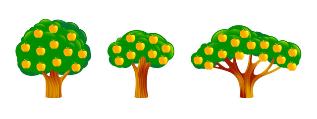 Apple Trees Set of different shapes and sizes. Yellow Fruits on a dark green branches, leaves. Objects, icons in flat style Components for Design, nature landscape pictures, game locations. Vector