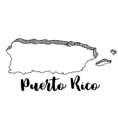 Hand drawn of Puerto Rico map, vector illustration