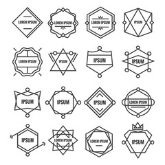 Set geometric signs, labels, and frames. Triangles. Line design elements, vector illustration.