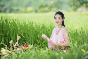 Thai farmer in Thai dress