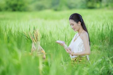 Thai farmer in Thai dress