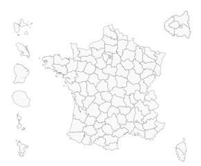 France - fond de carte - départements