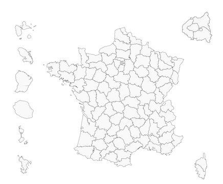 France - fond de carte - départements