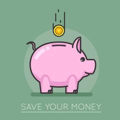 Money saving bank coin pig concept lineart design vector illustration