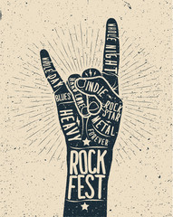 Rock Festival poster. Rock and roll hand sign.