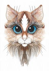 Foto op Canvas Hand getrokken schets van dieren Hand drawn watercolor brown cat with blue eyes