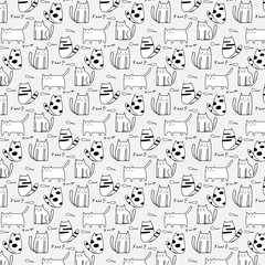Cute Cat Hand Drawn Vector Pattern.