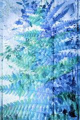 Exotic flowers in blue, artistic background