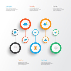 Climate Flat Icons Set. Collection Of Overcast, Banner, Sun And Other Elements. Also Includes Symbols Such As Frosty, Cloud, Hot.