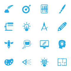 Set Of 16 Creative Icons Set.Collection Of Pen, Bulb, Artist And Other Elements.