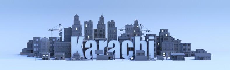 karachi lettering, city in 3d render Fototapete