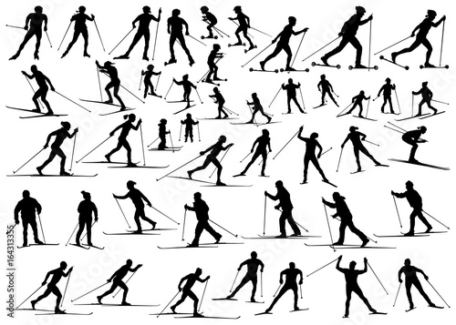 Cross Country Ski And Roller Men Women Senior Children Vector Silhouettes Collection