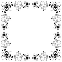 Vintage floral background - black and white design template