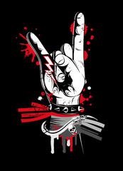 Handzeichen auf einem Metal- und Rock Festival. Am Handgelenk sind verschiedene Festivalbändchen. Metal- und Rock-Handzeichen im Graffiti und Grunge Stil.