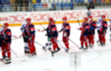 Hockey players Background blur.The photo is made out of focus