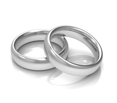 silver wedding rings concept       3d illustration