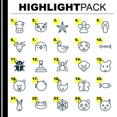 Zoology Icons Set. Collection Of Night Fowl, Diver, Kine And Other Elements. Also Includes Symbols Such As Print, Cat, Duck.