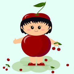 Baby in a red cherry costume.