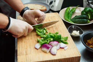 Chef is cutting vegetables