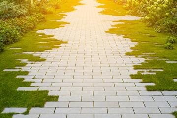 garden pavement - cobblestone and grass on sidewalk