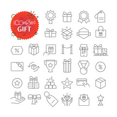 Simple icons collection. Web and mobile app outline icons set. Gift and prize