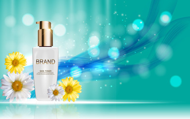 Design Cosmetics Skin Toner Product Bottle with Flowers Chamomil