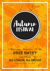 Fall Festival template. Bright colourful autumn leaves on vertical background. Template for holidays, concerts and parties. Autumn theme