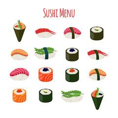 Sushi - asian food with fish, rice, seaweed, caviar. Vector illustration