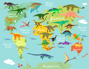 Dinosaurs map of the world