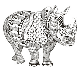 Rhino zentangle stylized, vector illustration, freehand pencil, doodle, black and white, pattern, hand drawn. Coloring book for adults. Anti stress.