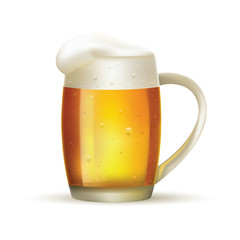 Glass of beer with foam on white isolated background. Vector.