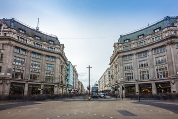 London, England - The famous Oxford Circus with Oxford Street and Regent Street on a busy day