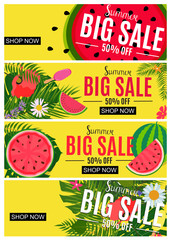 Summer Sale Abstract Banner Collection Set Background for your Business Vector Illustration