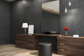 Black living room with a mirror, side view