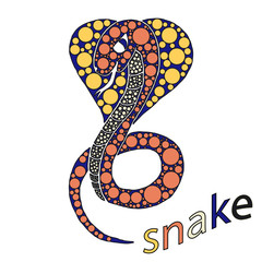 The Cobra opened its hood and a protruding tongue. Inside the colored circles. The concept of the snake. Icon. Vector image. Handmade. For print and web projects.