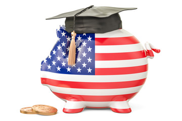 Savings for education in United States concept, 3D rendering
