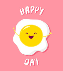 Cartoon fried egg raises hands and smiles. Vector card.