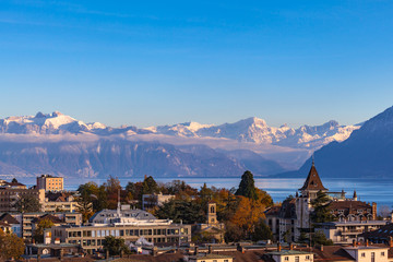 Cityscape of Lausanne and Leman lake