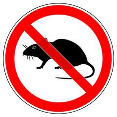 srr226 SignRoundRed - german - Verbotszeichen: Schädlingsbekämpfung - Ratten verboten - english - prohibition sign - pest control - rat not allowed - xxl g5294