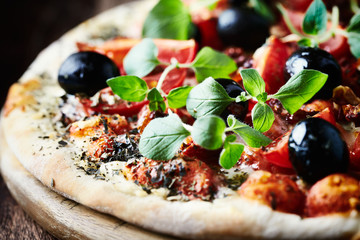 Pizza with Ham and Cherry Tomatoes
